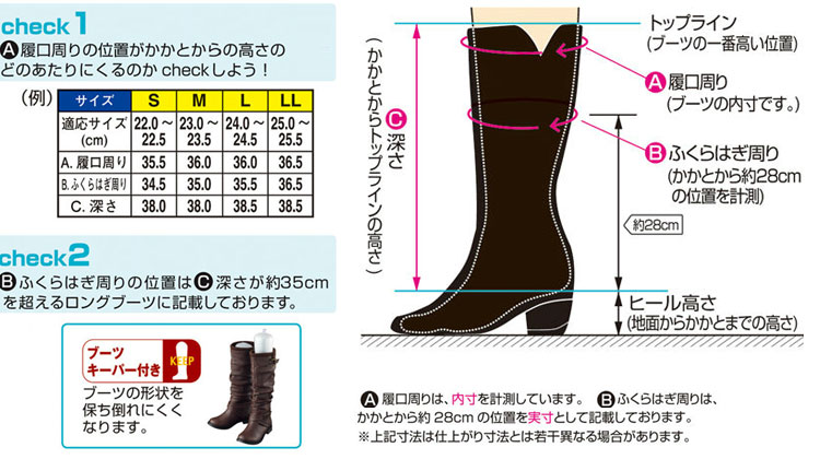 ブーツサイズ表